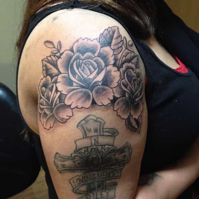 blackwork rose shoulder tattoos endure_and_prevail77