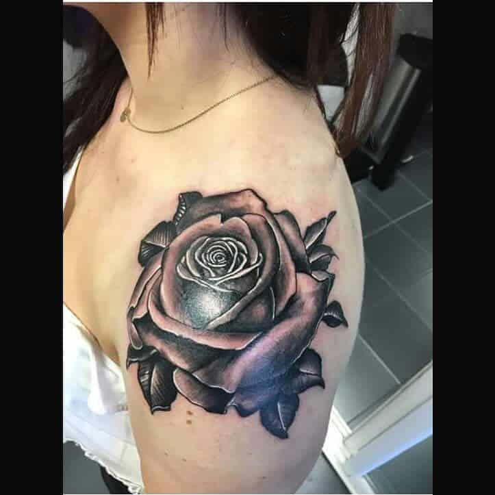 blackwork rose shoulder tattoos leeshabunn