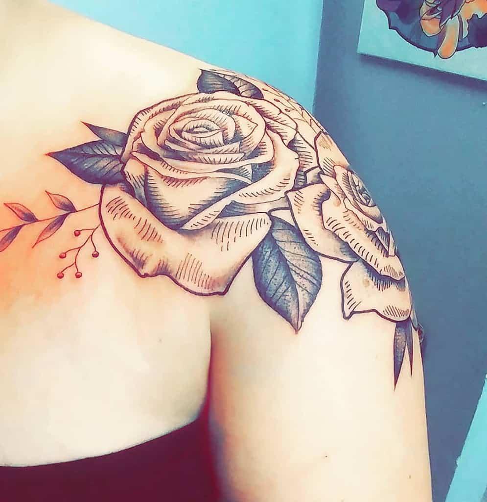 blackwork rose shoulder tattoos nikkichulski