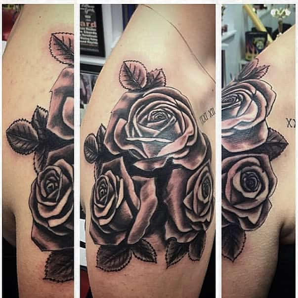 blackwork rose shoulder tattoos semiburntcookies