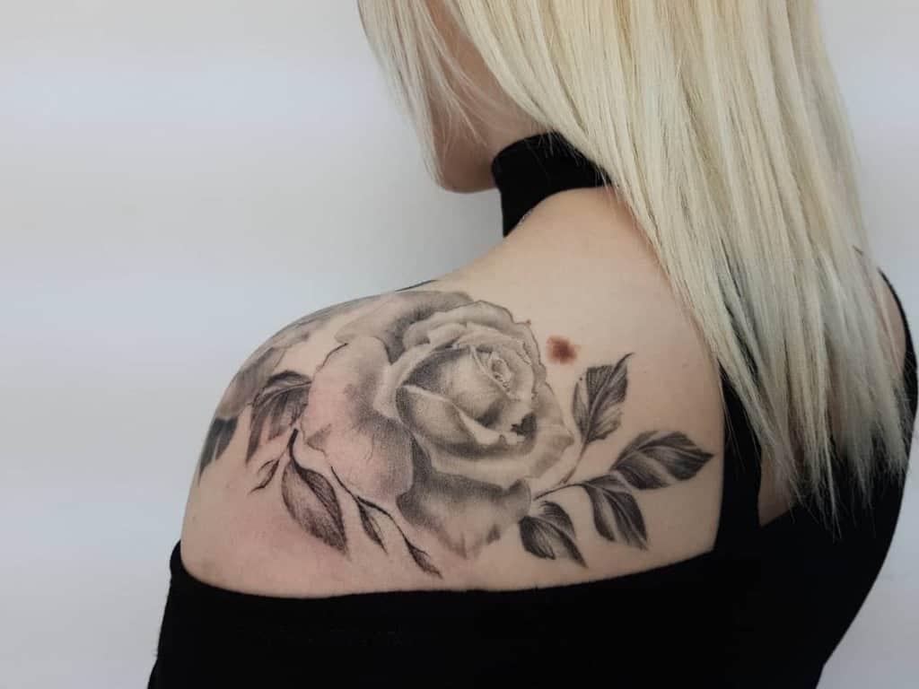 blackwork rose shoulder tattoos sunny_tattoo