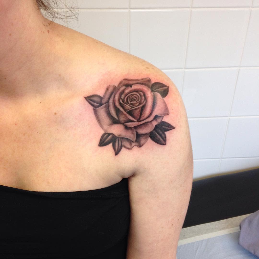 blackwork rose shoulder tattoos tattoosbymalc