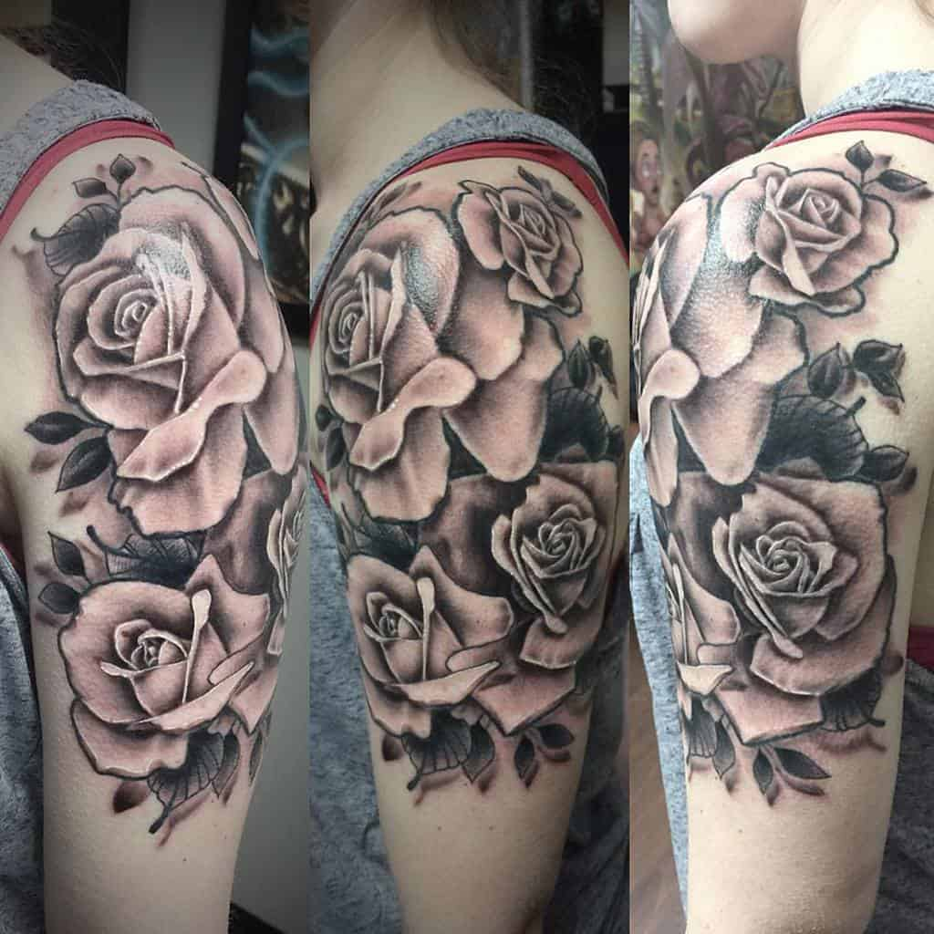 blackwork rose sleeve tattoos robotlovenoises