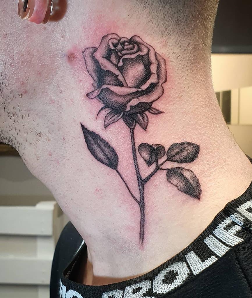 blackwork rose with stem tattoos zealoustattoo