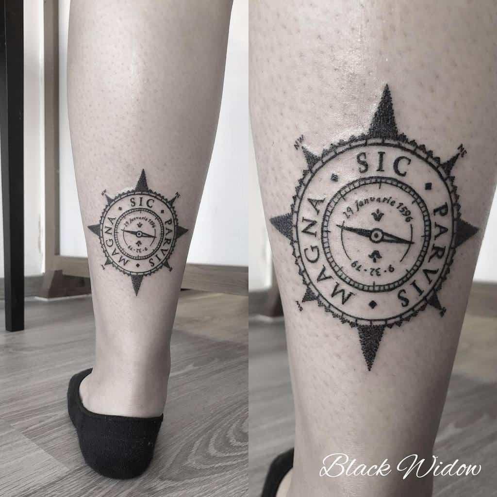 Blackwork Sic Parvis Magna Tattoos Blackwidow Tattoostudiomalta