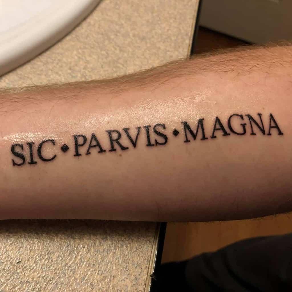 Blackwork Sic Parvis Magna Tattoos Midoriyaslostjacket