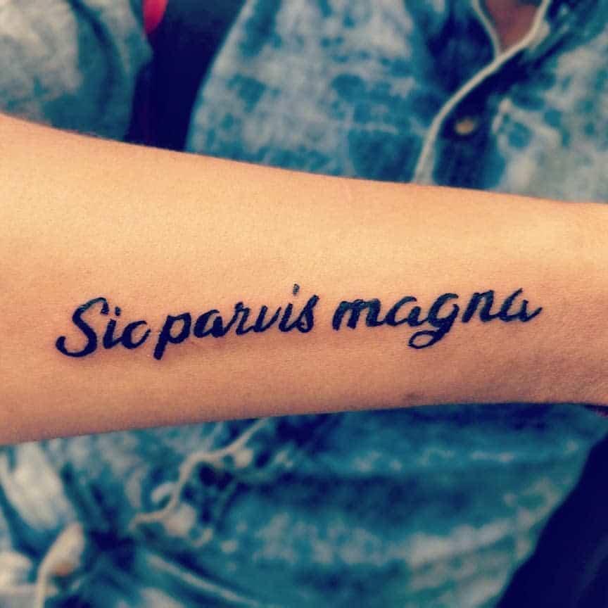 Blackwork Sic Parvis Magna Tattoos Tejas8k