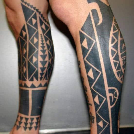 Blackwork Sun Tribal Tattoos Legs For Gentlemen