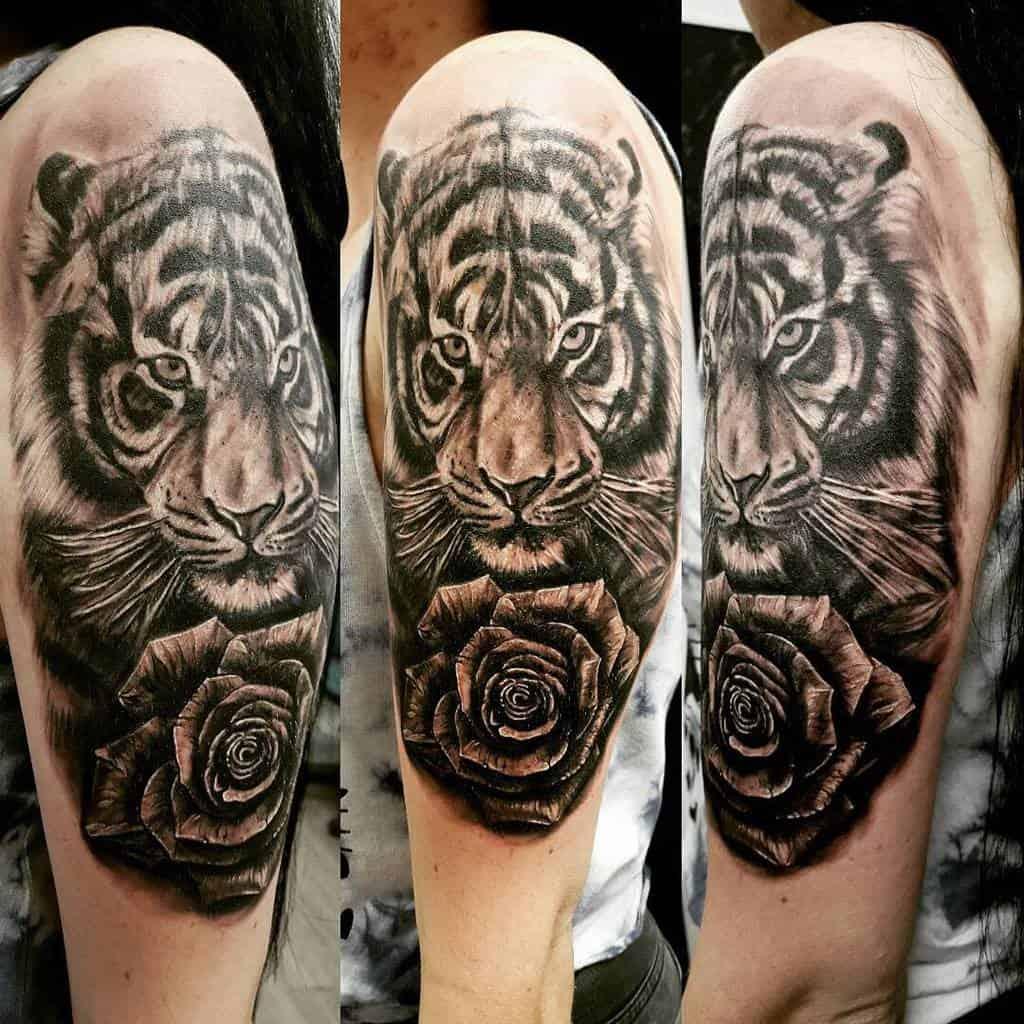 blackwork tiger rose tattoos ddaninovak