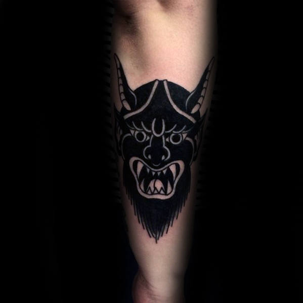 Blackwork Traditional Devil Mens Outer Forearm Tattoo