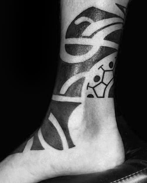 Blackwork Tribal Ankle Male Tattoo