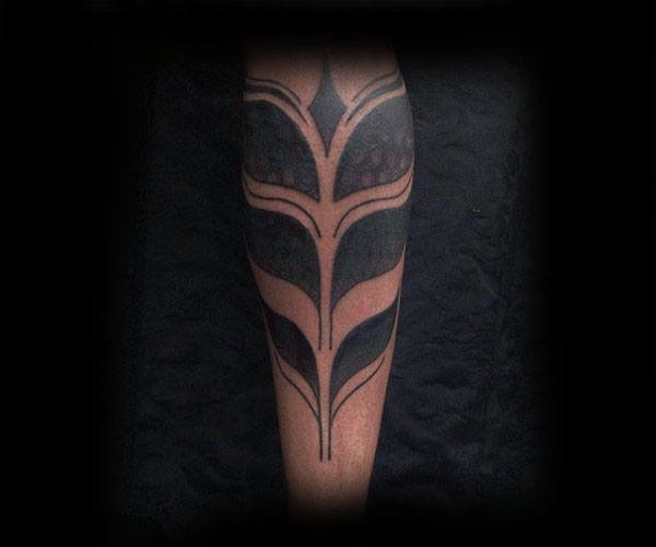 Blackwork Tribal Tattoos For Guys On Lower Leg