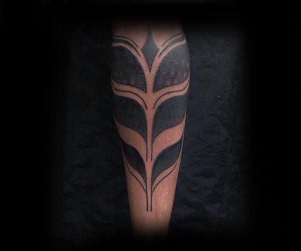 Blackwork Tribal Tattoos For Guys On Lower Leg