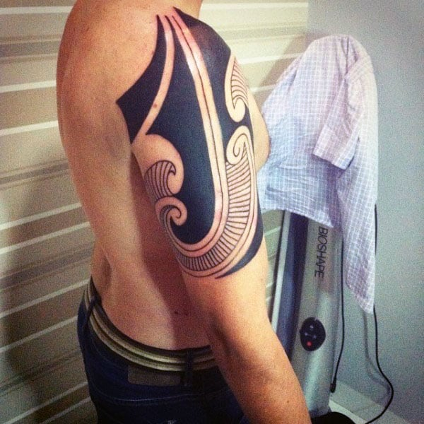 Blackwork Tribal Tattoos For Men On Arm