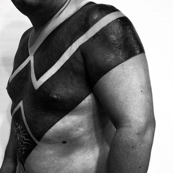 Blackwork Unusual Guys Tribal Chest And Arm Tattoo