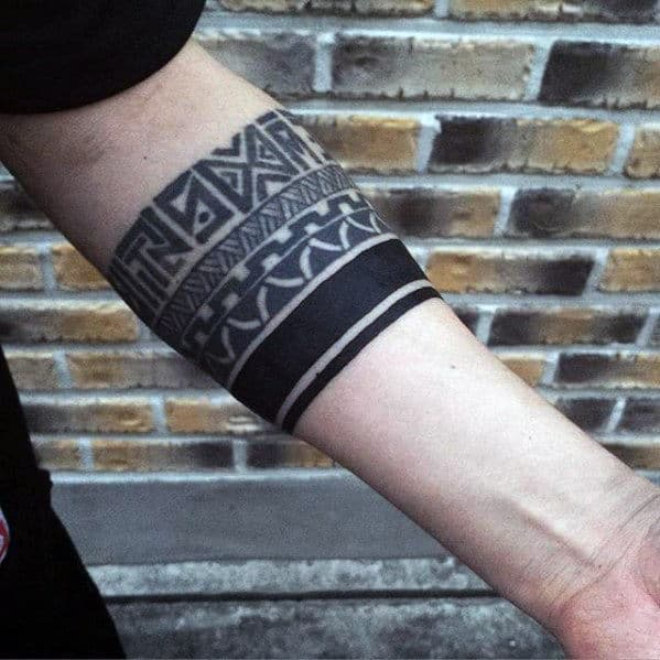 Blackwork With Pattern Guys Armband Tribal Tattoos