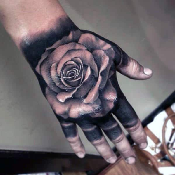 Blackwork With White Rose Flower 3d Hand Tattoos For Men