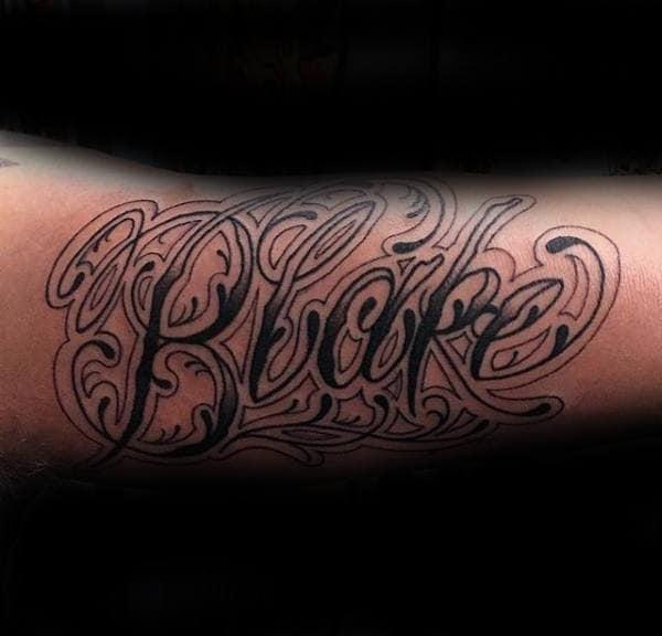 Blake Mens Ornate Name Tattoo On Arm