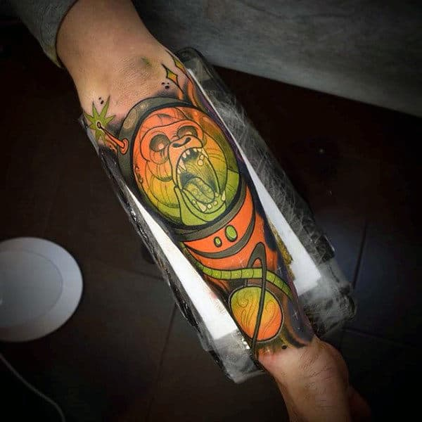 Blazing Evil Ogre In Space Tattoo Mens Forearms