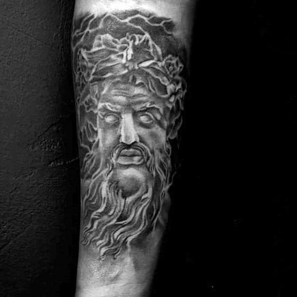 Blazing Greek God Zeus Tattoo On Arms Men