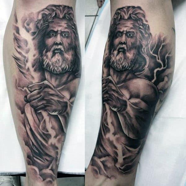 Blazing Greek God Zeus Tattoos On Arms For Guys