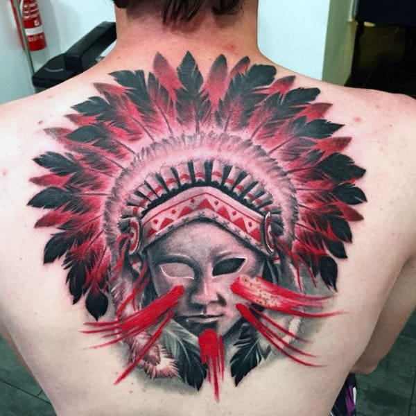 Blazing Red And Black Indian Feather Tattoo On Back For Males
