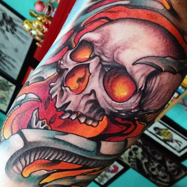 Blazing Red Neo Traditional Skull Tattoo Guys Forearms