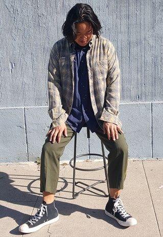 skater grunge bleached flannel