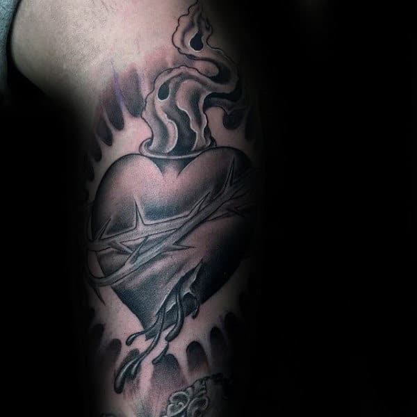Bleeding Sacred Heart Mens Arm Tattoo Design Ideas