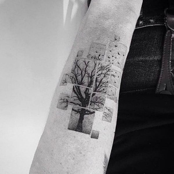 Blocks Tree Mens Inner Forearm Tattoos