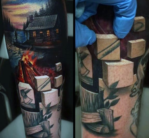Blocks With Cabin In The Woods Mens 3d Forear Sleeve Tattoo
