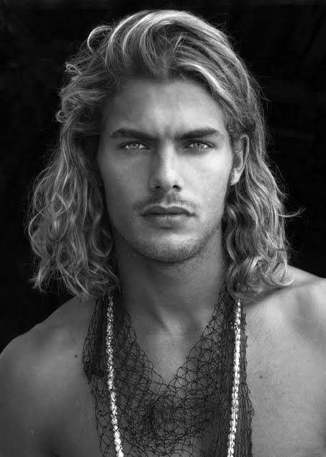 Blond Curly Straight Mens Surfer Haircut