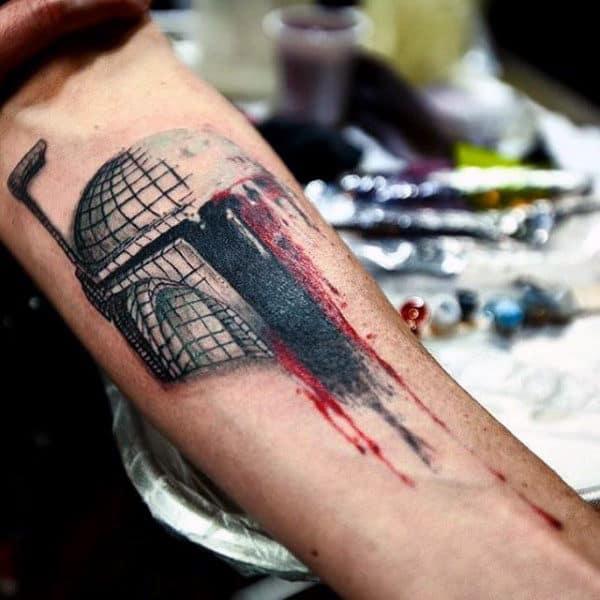 Bloody Helmet Star War Tattoo On Guys Inner Forearm