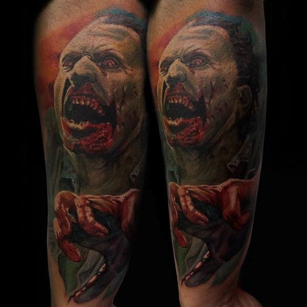 Bloody Zombie Realistic Mens Forearm Tattoo