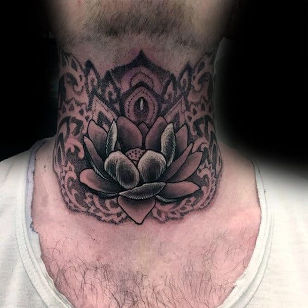 Blooming Lotus Tattoo Male Neck Dotwork