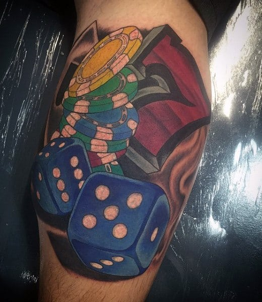 Blue 3d Dice Tattoo For Men On Leg Calf