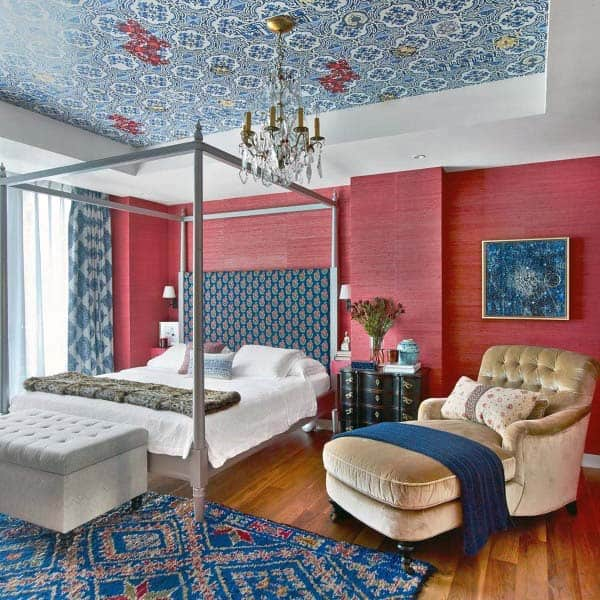 Blue Accent Decor Red Bedroom Ideas