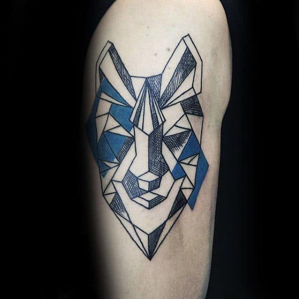 Blue And Black Ink Geometric Wolf Mens Arm Tattoo