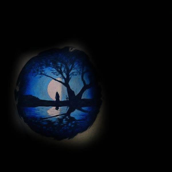 Blue And Black Ink Silhouette Tree Sky Moon Scene Tattoo
