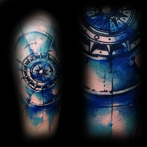 Blue And Black Ink Watercolor Compass Male Arm Tattoos
