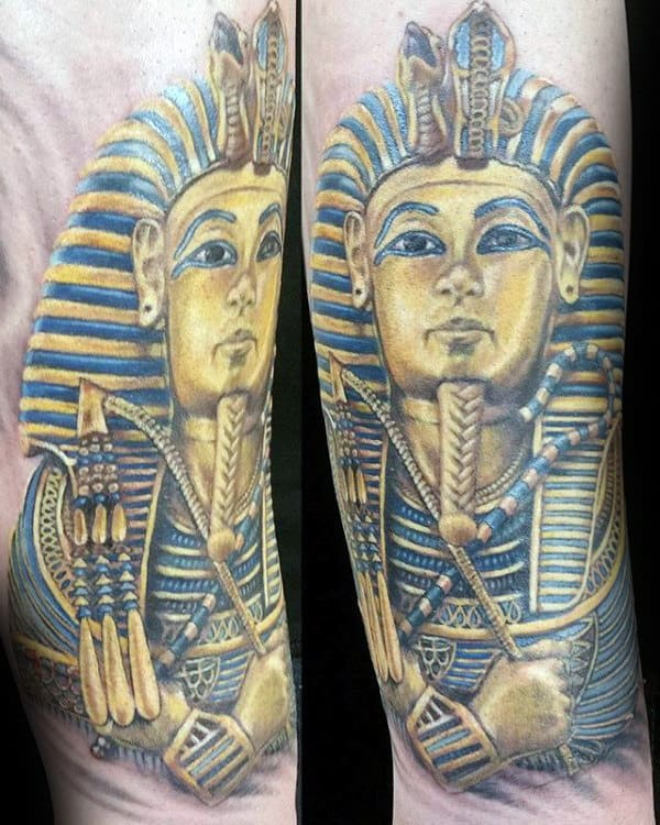 Blue And Gold Ink Mens King Tut Arm Tattoos