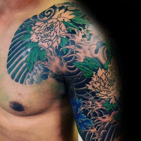 Tattoo Designs Japanese Names: 100 Peony Tattoo Designs For Men
