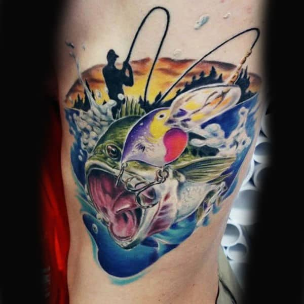Blue And Green Vibrant Bass Man Fishing Tattoo