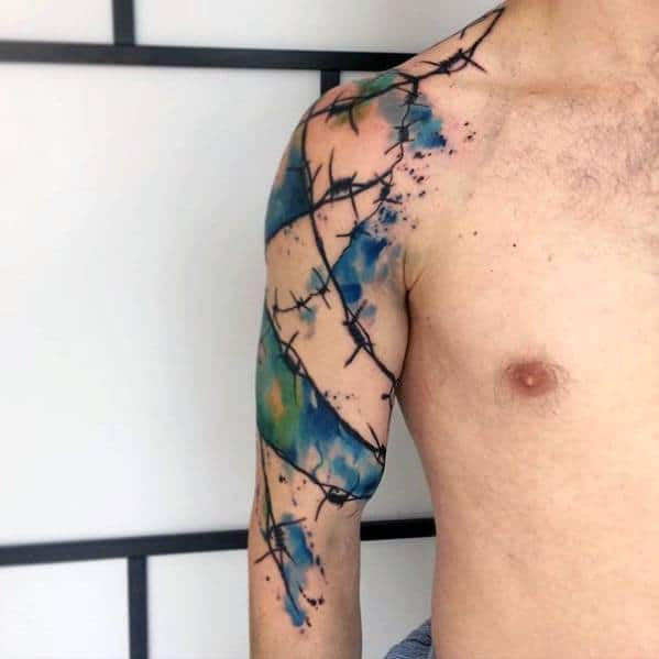 Blue And Green Watercolor Artsy Arm Tattoos For Guys
