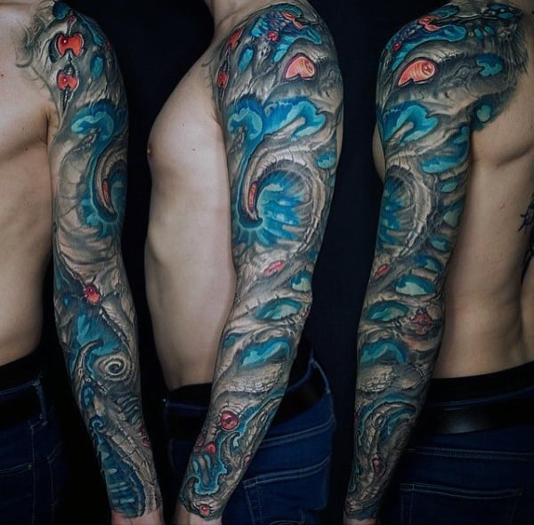 Blue And Grey Ink Guys Unique Sleeve Tattoo Ideas
