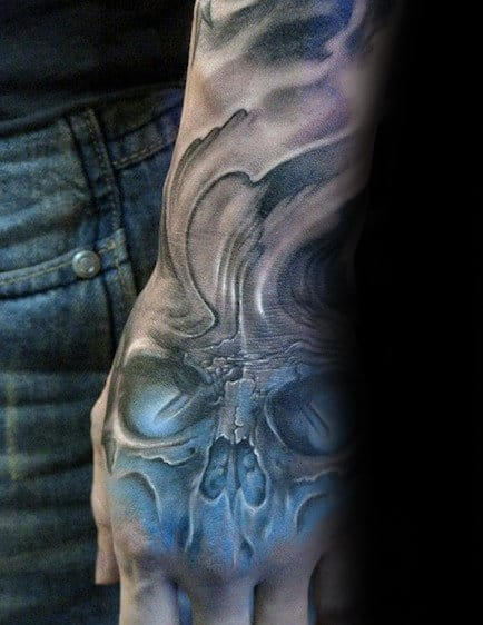 Blue And Grey Shaded Skull Hand Tattoos For Men With 3d Design