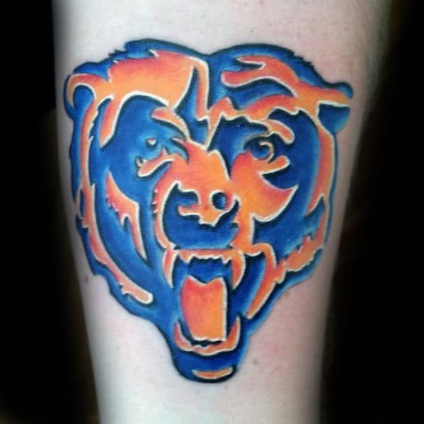 Blue And Orange Chicago Bears Guys Tattoo Designs On Forearm