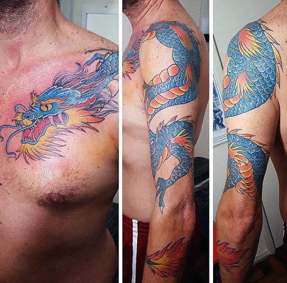 Blue And Orange Guys Dragon Arm Tattoos