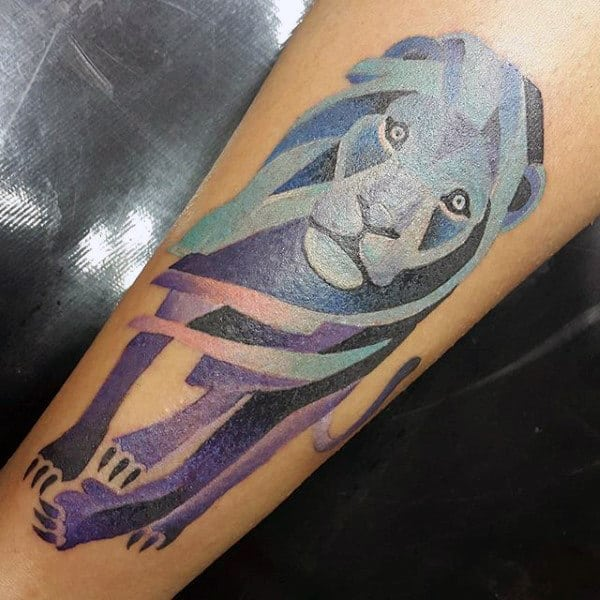 Blue And Purple Modern Men's Tattoos Of Lions