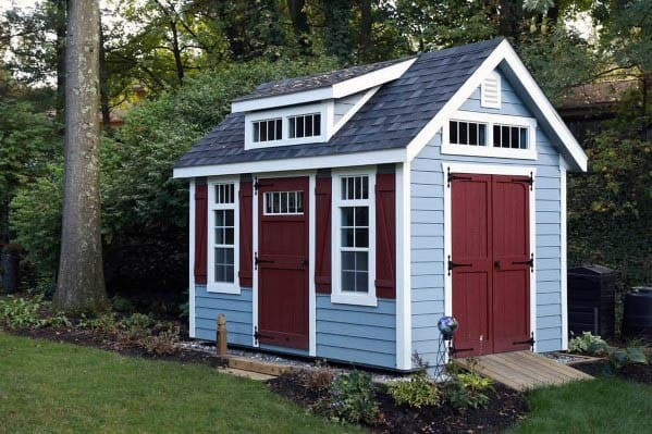 Blue And Red Backyard Shed Ideas